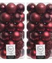 74x donkerrode kerstballen 6 cm glanzende matte glitter kunststof plastic kerstversiering