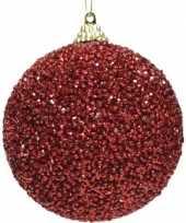 8x kerst rode kerstballen 8 cm glitters kraaltjes kunststof kerstversiering