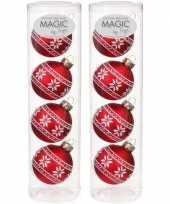 8x rode kerstballen van glas noorse print 6 cm