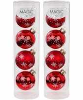 8x rode kerstballen van glas noorse sneeuw print 6 cm