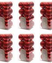 96x kerst rode kerstballen 4 cm glanzende matte kunststof plastic kerstversiering