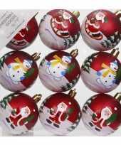 9x kerstballen rood met print 6 cm voor kinderen