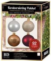 Complete kerstballen set wit champagne beige donkerrood voor 150 cm kerstboom