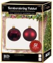 Kerstballen met ster piek set donkerrood voor 120 cm kerstboom 10170319