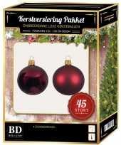 Kerstballen met ster piek set donkerrood voor 120 cm kerstboom