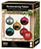 Kerstballen pakket 153 stuks met piek gekleurd