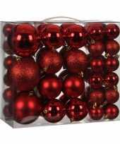 Kerstballenpakket 46x rode kunststof kerstballen mix