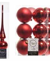 Kerstboom optuigen set rood glazen piek en 12x kunststof ballen 8 cm
