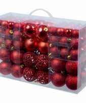 Rode plastic kunststof kerstballen 100 stuks in 3 formaten