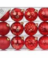 Set van 12 luxe rode kerstballen 6 cm kunststof mat glans