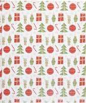 Wit cadeaupapier met kerstballen en cadeaus 500 x 50 cm